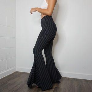 Pants - Autumn Tenyl black and white pinstripe flare pants